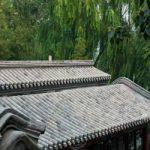 中国式庭園で…