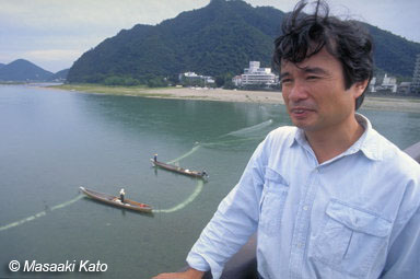 岐阜市内を流れる長良川で 撮影:1991年9月29日