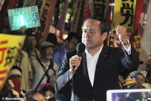 社民党・吉田忠智参議院議員 国会前 2015年9月18日