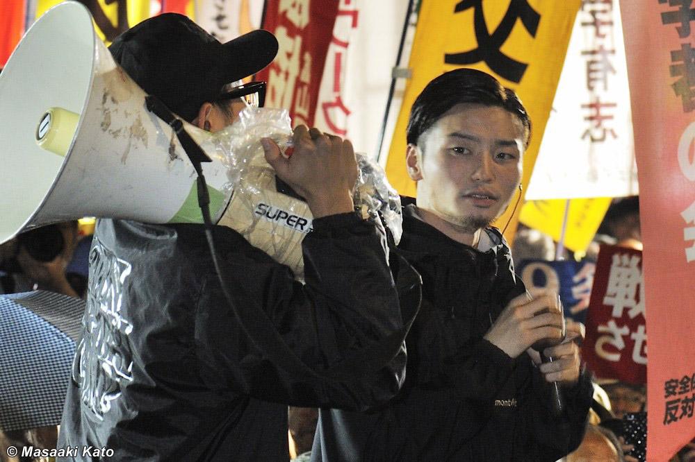 SEALDs・奥田愛基氏 国会前 2015年9月18日