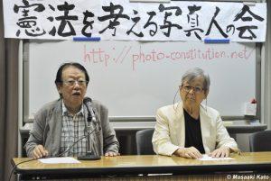 写真家・田沼武能氏(左)、写真家・丹野章氏(右)2015年7月5日