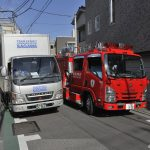 狭い路地に消防車が……