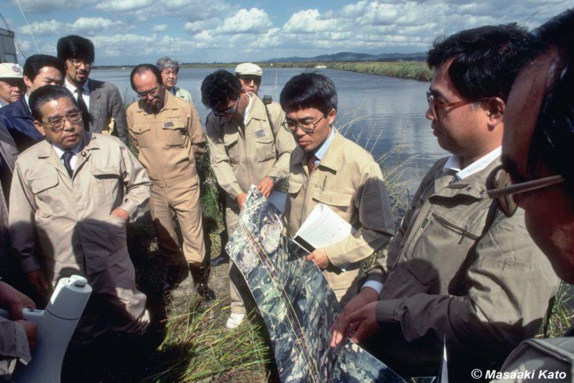 撮影:1990年10月2日 千歳川放水路現地視察/千歳市・根志越調整池
