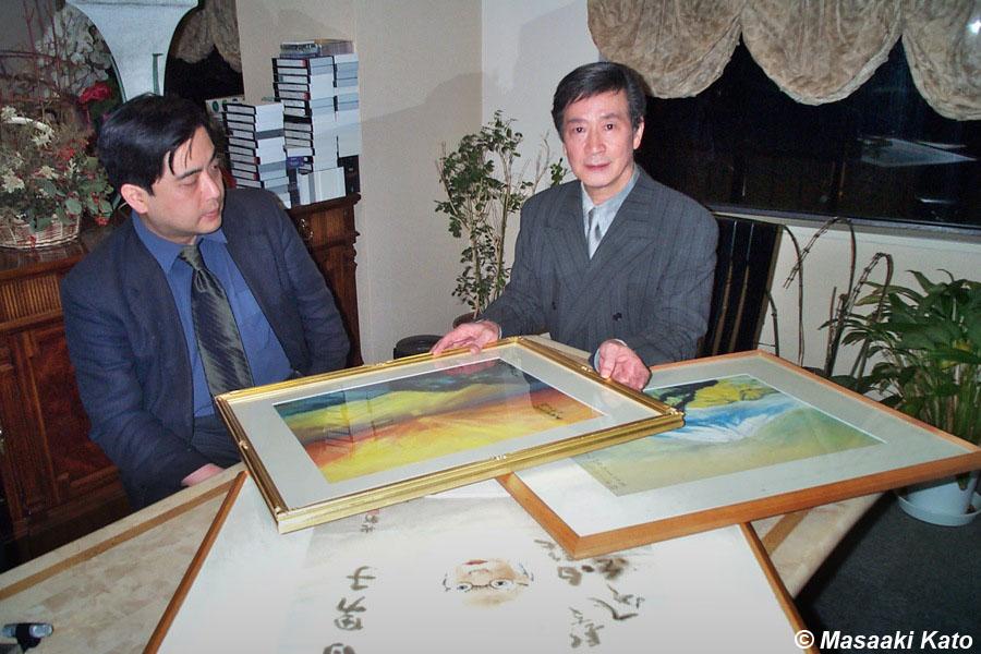 音楽プロデューサー酒井政利氏(右)、平沢武彦氏 2000年12月15日撮影 紀尾井町