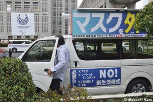 2021年6月23日 東京都庁前 #NOlympicDay/オリンピックは問題なく開催可能と演説した国民主権党H党首、撮影:加藤雅昭